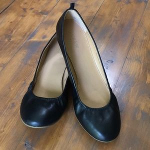 J.Crew Anya black leather ballet flats